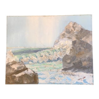 Lovely Impressionistic Oil on Canvas Board Seascape - #2