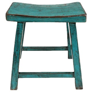 Turquoise Lacquered Village Stool