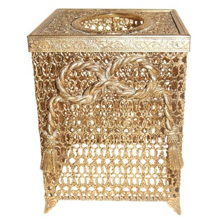 Hollywood Regency Square Metal Tissue Box