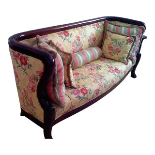 Antique Victorian French Empire Mahogany Sofa