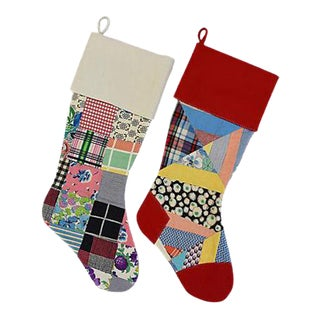 "Large Custom 22"" Tailored Patchwork Quilt Christmas Stockings - Pair"