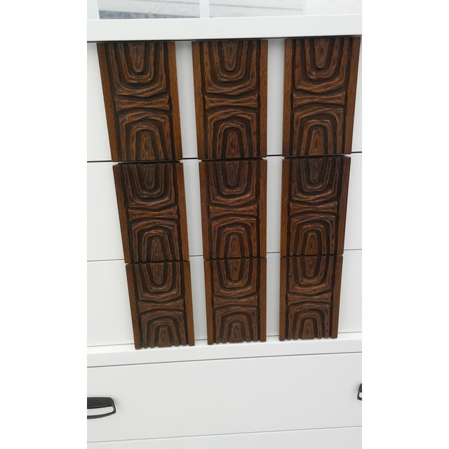 White Lacquered Mid-Century Modern Tall Dresser - Image 8 of 9