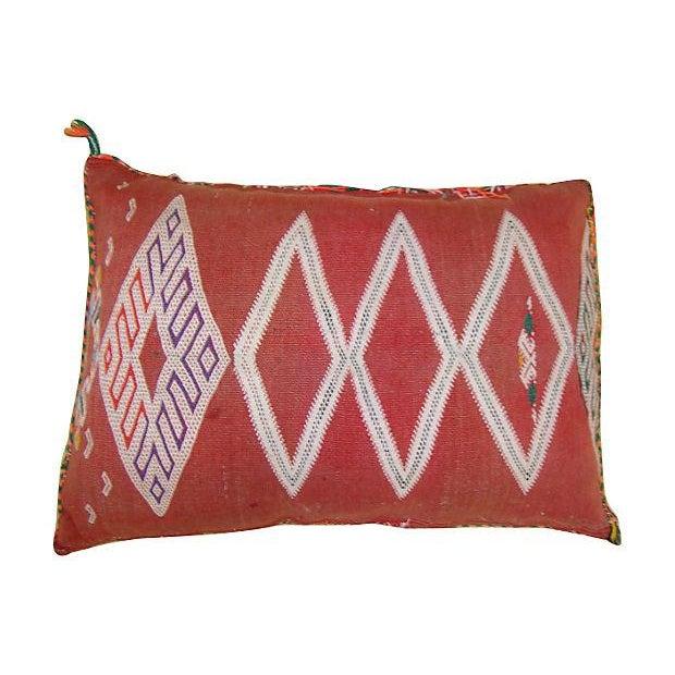 Orange Diamond Patterned Moroccan Sham Pillow - Image 2 of 2