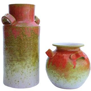 Italian Ombré Lava Glaze Vases - Pair