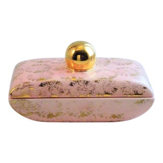 Pink & Gold Ceramic Bowl with Lid