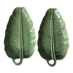 Bordallo Pinheiro Green Majolica Banana Leaf Dishes- A Pair