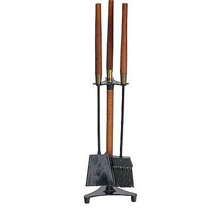 Vintage 1960s Walnut-Handled Black Fire Tool Set - Image 1 of 4