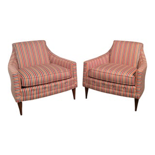 Mid Century Low Back Lounge Chairs - a Pair