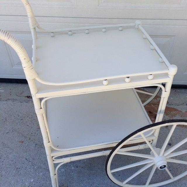 Vintage Heywood-Wakefield Wicker Bar Cart - Image 4 of 6