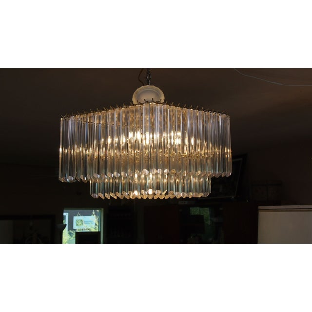Image of Diamond Shaped Lucite & Brass Chandelier