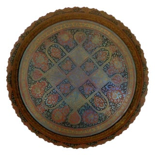 Vintage Indian Hand Engraved Enameled Brass Tray