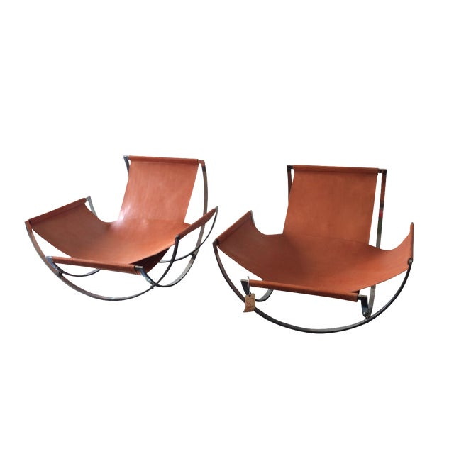 Charles Stendig Leather Lounge Chairs - A Pair - Image 1 of 8