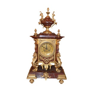 French Rouge Marble and Gilt Bronze Clock