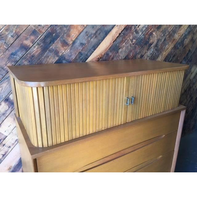 Brown Saltman Mid-Century Tambour Highboy Dresser - Image 3 of 7