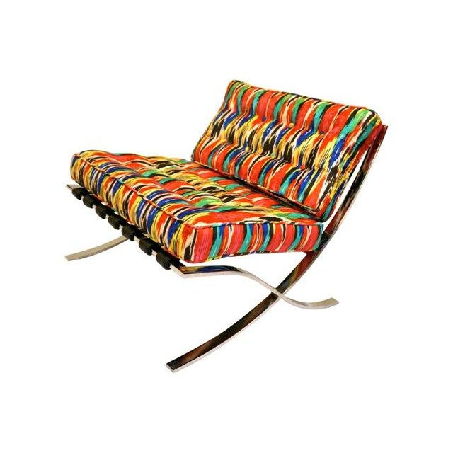 Ikat Barcelona Style Chrome Chairs - A Pair - Image 4 of 7