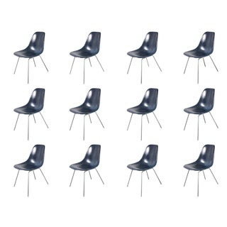 Charles and Ray Eames Navy Blue Shell Chairs