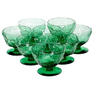 1960's Textured Green Low Coupes - Set of 8