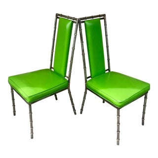 Faux Bamboo Green Metal Chairs - A Pair