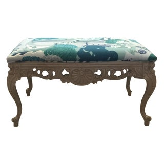 French Carved Bench in Gray Painted Finish