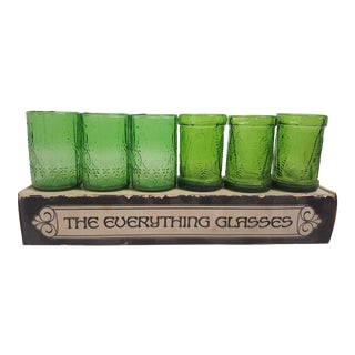 "6 Mid Century ""The Everything Glasses"" in Green"