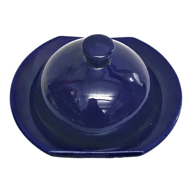 Hand Painted Violet Moroccan Ceramic Serving Dish - Image 1 of 3