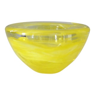 Kosta Boda Atoll Glass Candle Holder Yellow Swirl Art Glass Anna Ehrner
