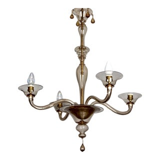 Italian Pale Amber Murano Glass Four Arm Chandelier by Venini