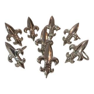 Fleur De Lis Silver Plate Napkin Rings - Set of 8