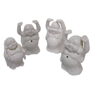 White Smiley Buddha Planter Mugs - Set of 4