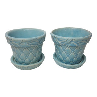 Aqua McCoy Diamond Quilted Planters - A Pair