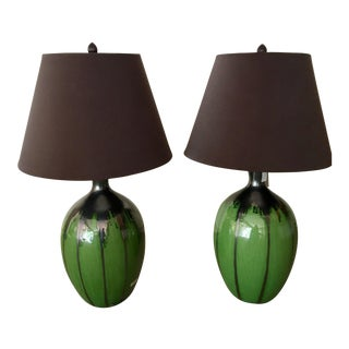 Green Flambe Pottery Lamps - a Pair