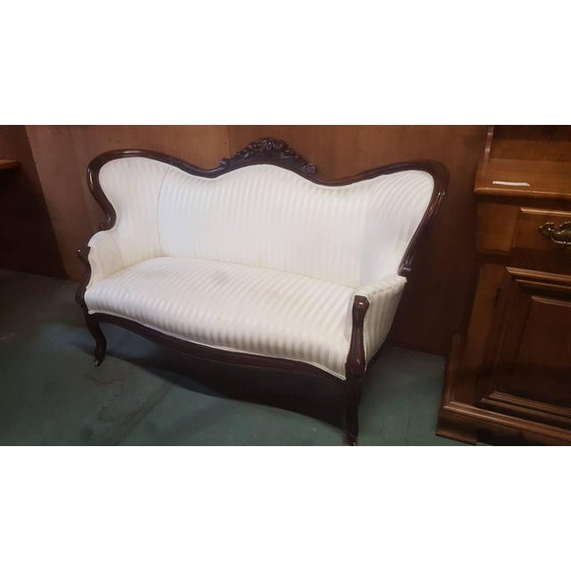 Image of Antique Mahogany & White Love Seat Sofa