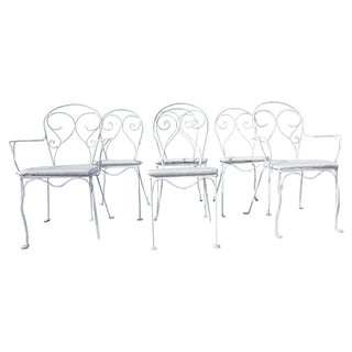 French Style Bow-Back Iron Patio Chairs - Set of 6