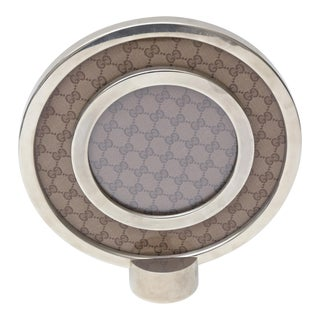 Italian Gucci Iconic Chrome plated and Glass Round Picture Frame
