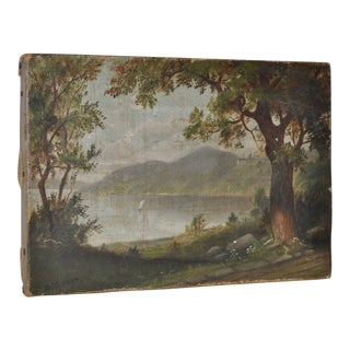 Antique English Country Landscape Oil Painting