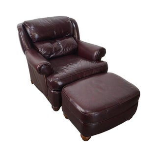 Whittemore Sherrill Oxblood Leather Club Chair with Ottoman