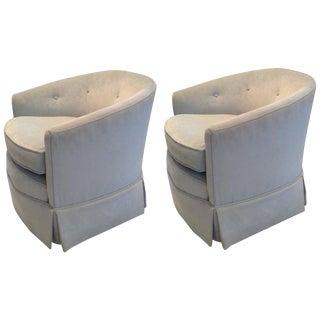 Pale Blue Velvet Swivel Club Chairs - A Pair