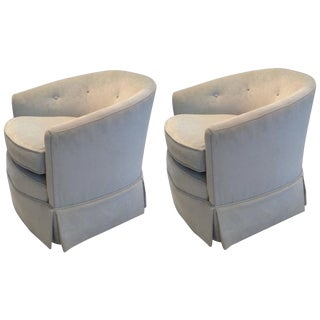 Pale Blue Velvet Swivel Club Chairs - A Pair