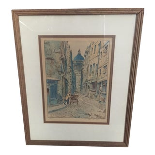 Antique Paris Rue Des Soet Voies Street Scene Framed Art