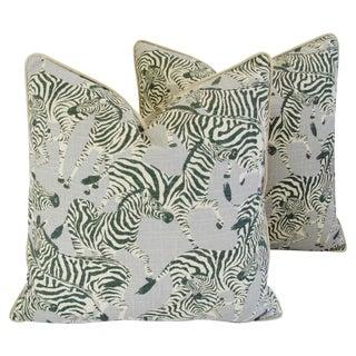 """24"""" Large Custom Tailored Safari Zebra Linen & Velvet Feather/Down Pillows - Pair"""