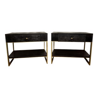 Pair of Elisabeth Weinstock Alligator Nightstand End Tables