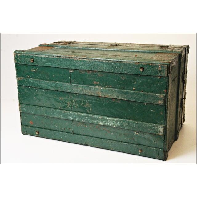 Vintage Industrial Green Wood Steamer Trunk - Image 11 of 11