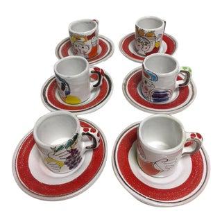 De Simone Italian Demi Tasse Cups & Saucers - 12 Pieces