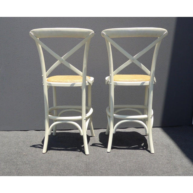 Vintage French Country White Rye Seat Bar Stools - A Pair - Image 6 of 11