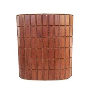 Mid-Century Carved Wood Waste Bin