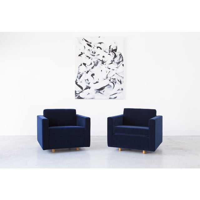 Jack Cartwright Blue Mohair Cube Chairs - Pair - Image 10 of 11
