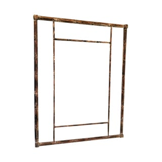 Mid-Century Distressed Wood Bamboo Mirror