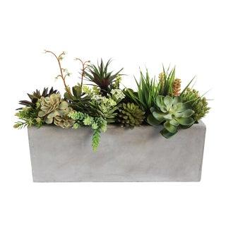 Cement Trough with Faux Succulents