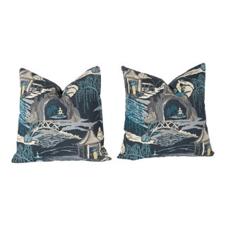 Blue Chinoiserie Accent Pillows - A Pair