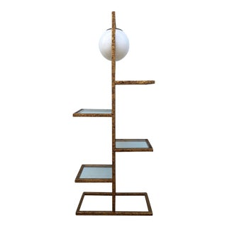 Brutalist Gold Gilt Floor Lamp Etagere